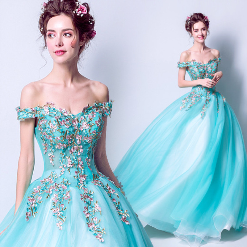 Ruthshen Fairytale Ball Gown Prom Dresses 2019 New Light Blue Beading Romantic Flowers Off The Shoulder Vestidos De Prom Gowns