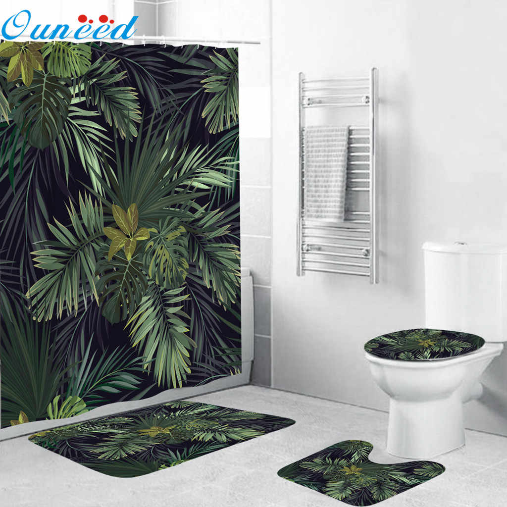 Ouneed Shower Curtains set 4PCS Non Slip Floral pattern Toilet Polyester Cover Mat Set flower Waterproof Bathroom Shower Curtain