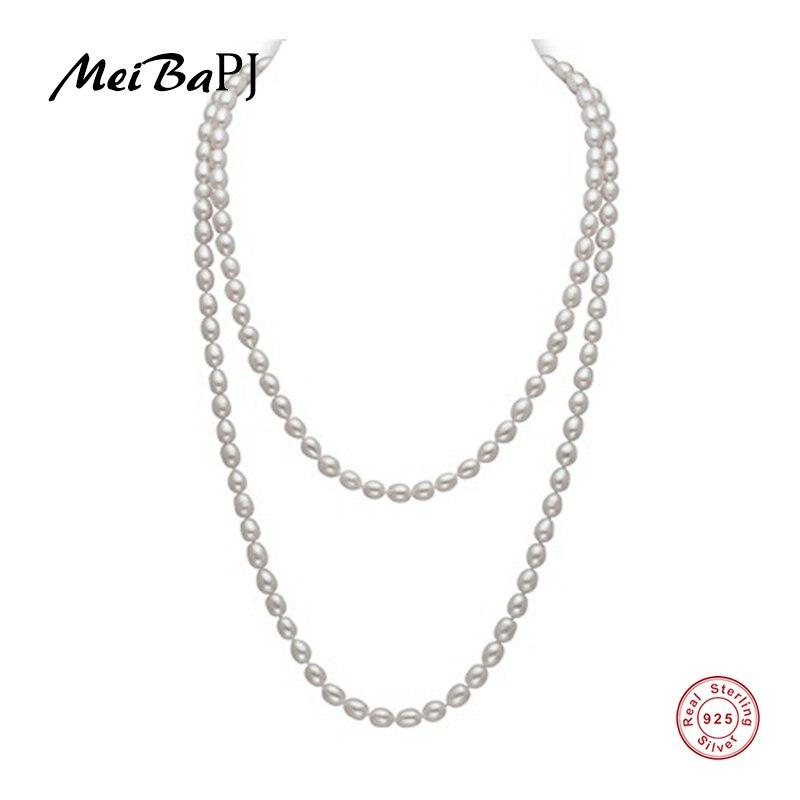 [MeiBaPJ] 2017 nouveau classique perle de riz 120 cm/160 cm long colliers naturel perle perles collier pour fête bijoux cadeau sac