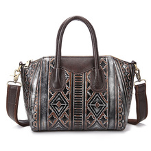 Women's Genuine Cowhide Leather Handbag Girl Lady Female Cross Body Shoulder Sling Bag Handbag Clutch Bag Totes Pouch LS8858