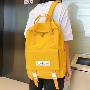 Image 2 - Mochilas impermeables Harajuku para mujer, morrales escolares a la moda para chicas adolescentes, mochila Kawaii de nailon, bolso de lujo para mujer