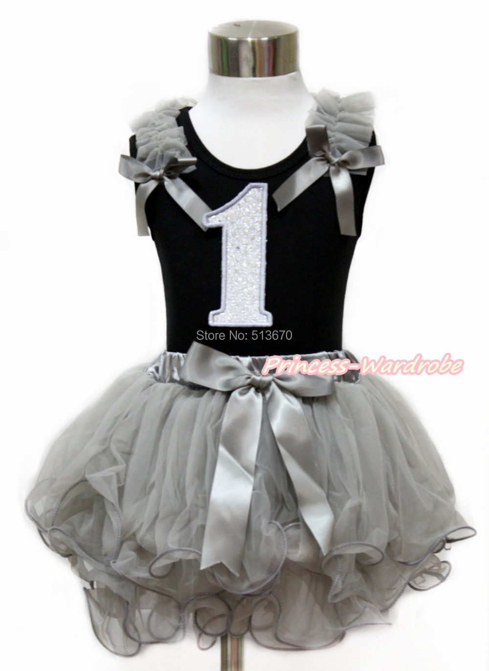 ФОТО White Sparkle 1ST Black Top Girl Gray Petal Skirt Set NB-8Y MG1136 NG1437