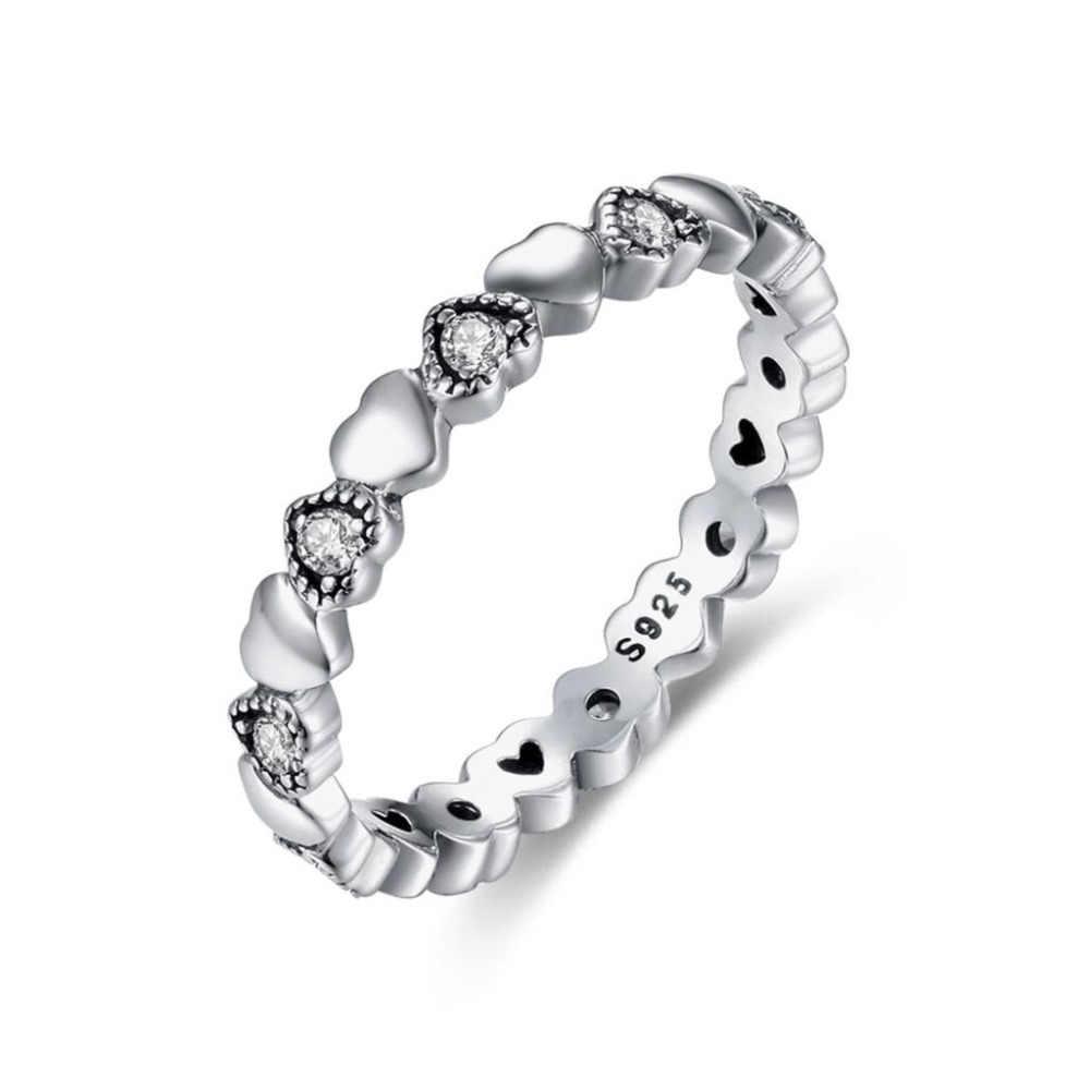 Kaletine יוקרה מותג קשר קשת אהבה שחור טבעות לנשים 925 כסף סטרלינג Stackable CZ חתונת אירוסין Tiffan תכשיטים