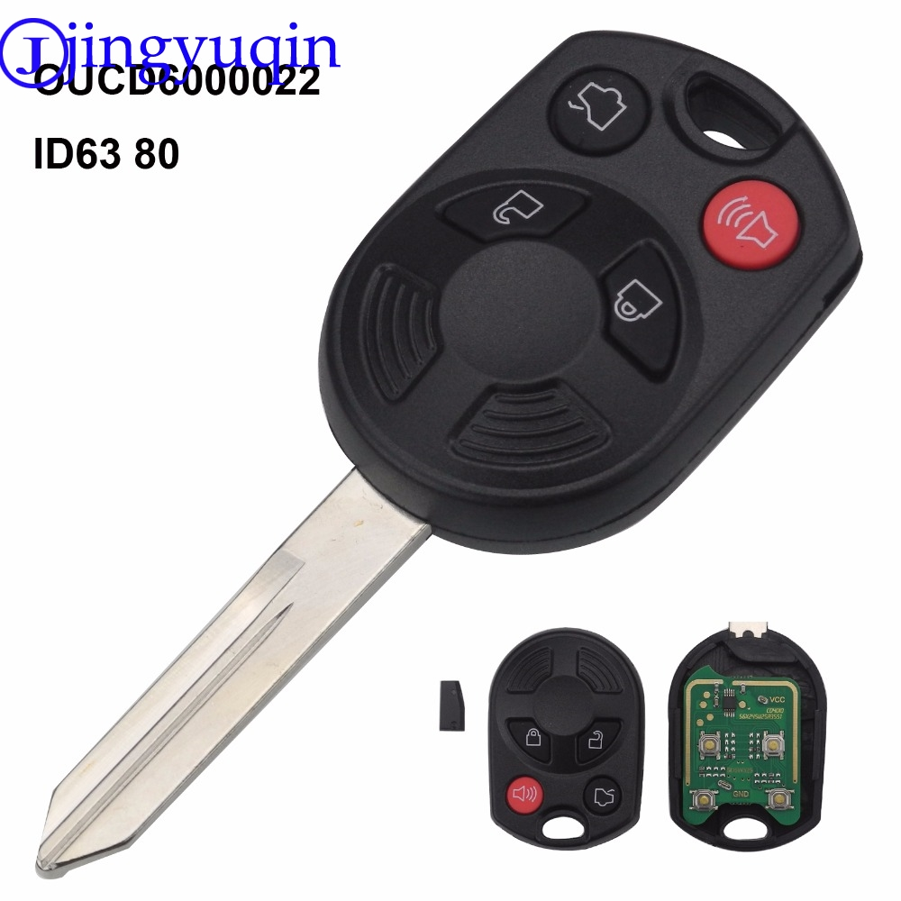 jingyuqin 4 Buttons Remote OUCD6000022 With ID63 Chip 80 Car Key Shell Cover For Ford Escape Keyless Entry Combo