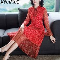 Summer Dress Women Clothes 2019 Silk Vintage Red Dress for Women Floral Party Dress Elegant Ladies Dresses Vestidos MY2361