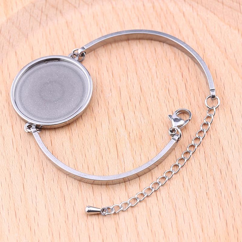 onwear 5pcs stainless steel cabochon bracelet base 25mm dia blank bangle  bezel trays diy bracelets making accessories