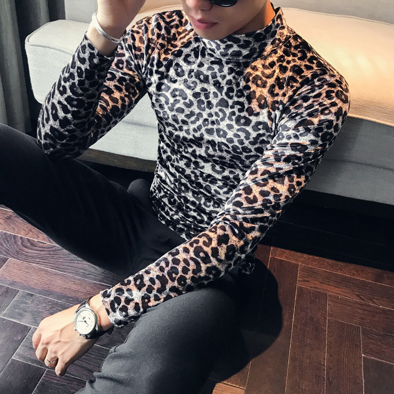 Top Quality Men T Shirt Fashion 2019 Autumn Winter Slim Fit Casual T-Shirts Mens Long Sleeve High Collar Leopard Print Tops&Tees