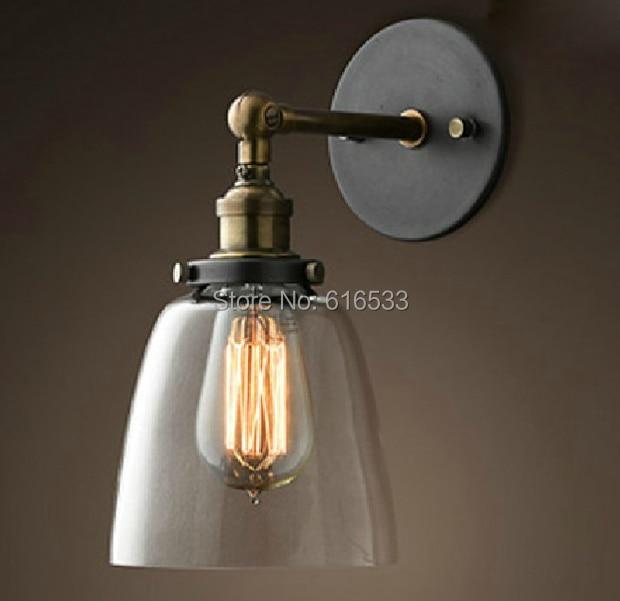 Loft Vintage américain industriel Lustre en verre cuivre Edison ...