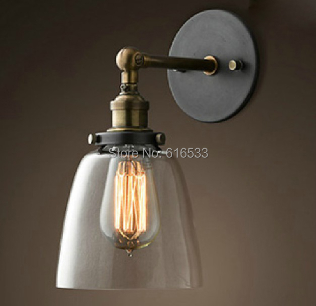 Loft Vintage Américain Industriel Lustre En Verre Cuivre Edison Applique  Murale Lampe Salle De Bain à
