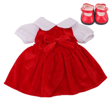 18 inch Girls doll skirt print dress + hair band cheongsamwith shoes American born clothes Baby toys fit 43 cm baby dolls c523