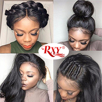 RXY Peruvian Straight Lace Front Wig Glueless Lace Front Human Hair Wigs For Black Women 12x3 Long Pre Plucked With Baby Hair