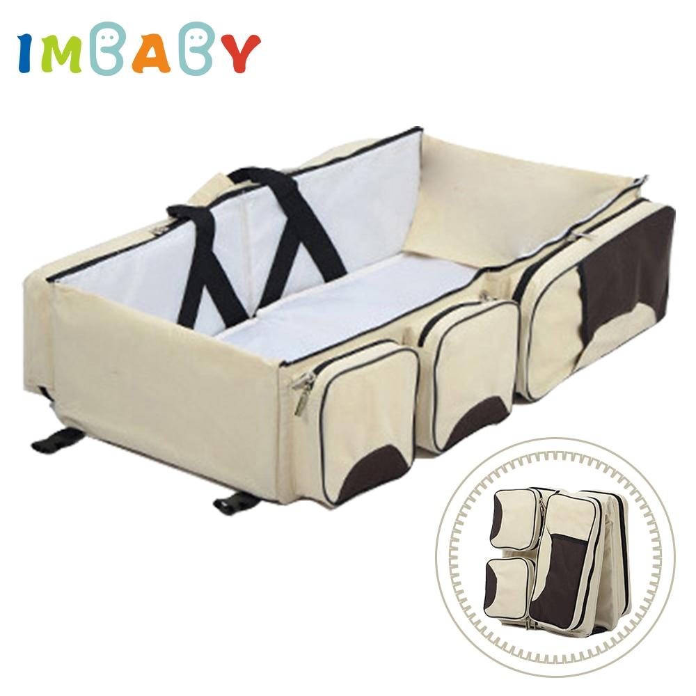 IMBABY Pliant Bébé Voyage Sac Berceaux Portable Voyage Lit Bébé Nacelle Avec 5 Poches Mini Bébé Transat Pour L'extérieur