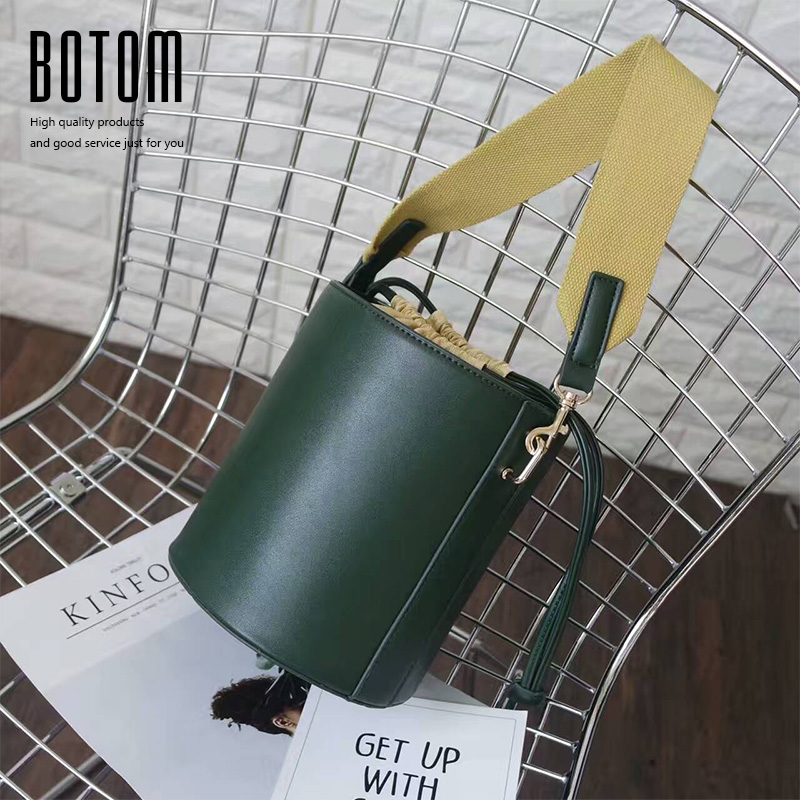 Botom New Design Simple Barrel Bags Pu Leather Bucket Bag Casual Totes Ladies Shoulder Bag Canvas Strap Crossbody Handbag Purse