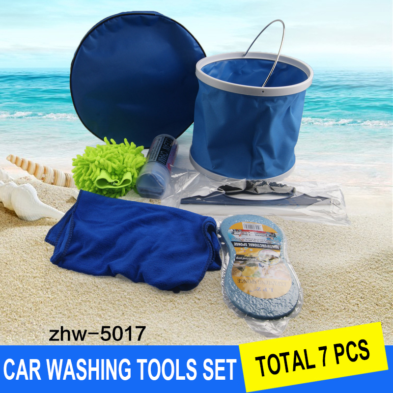 7 pcs Car Wash Set DIY Vehicle Cleaning Tool Combination Vehicle Kit Car Cleaning Kit Towel/Sponge/Water Scraping Plate/Bucket car wax wash cleaning polishing expanding sponge pad yellow