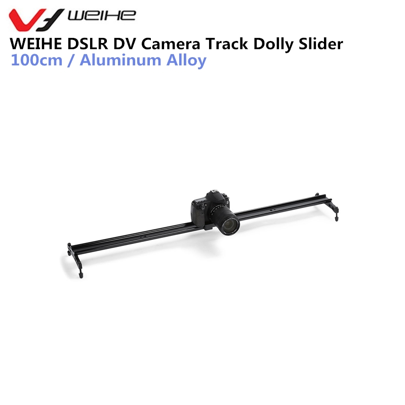 WEIHE Camera Slider Double-track Design 100cm DSLR DV Camera Damping Track Dolly Slider Video Stabilizer System For DSLR Camera 60cm mini camera video slr stabilizer 3 axis silent damping slide portable compact track slider rail system