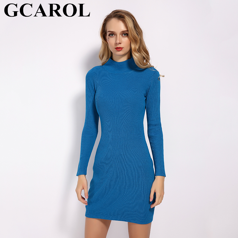 GCAROL 2019 New Fall Winter Bodycon Dress Women Stand Collar Sexy Sheath Stretch Basic Render Knit Dress In 6 Colors