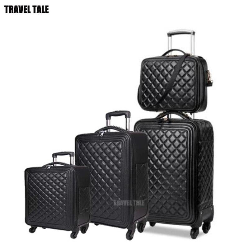 """Opowieść podróży 16 """"20"""" 24 """"cal kobiety spinner skórzany wózek torba zestaw walizka podróżna bagażu zestaw do podróży w Zestawy bagażowe od Bagaże i torby na  Grupa 1"""