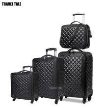 Sac de voyage à roulettes en cuir pour femmes, 16/20/24 pouces, set valise de voyage de bagages, pour voyage