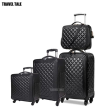 "TRAVEL TALE 16""20""24"" inch women spinner leather trolley bag set travel suitcase luggage set for travelling"