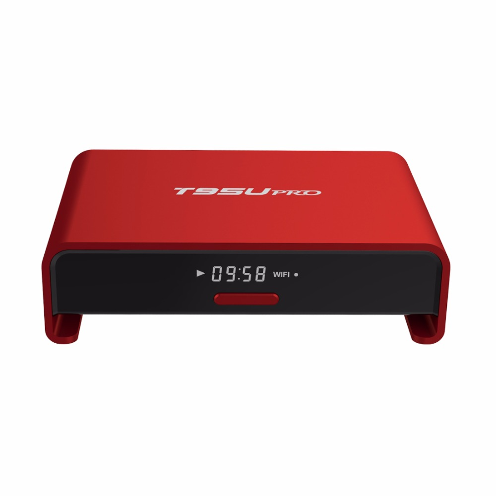 50 pcs LED Display TV BOX T95U Pro Smart Android TV Box Metal Case Red Color Octa Core Amlogic S912 2GB/16GB 4K 2.4G/5G Wifi