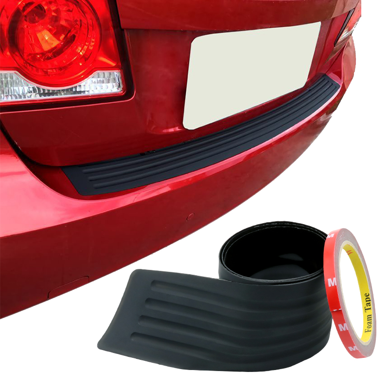 Rubber Car Rear Trunk Boot Bumper Protective Sill Plate Guards Cover Trim Strips