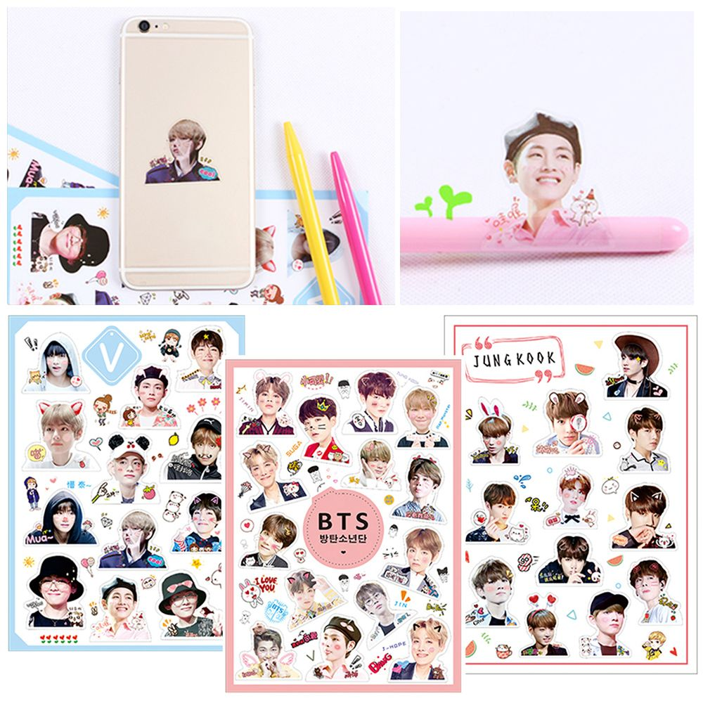 New Hot Bt21 Stickers Fashion Diy Craft Photo Album Kpop Bts Stationery Bangtan Boys Scrapbooking For Baby Gifts