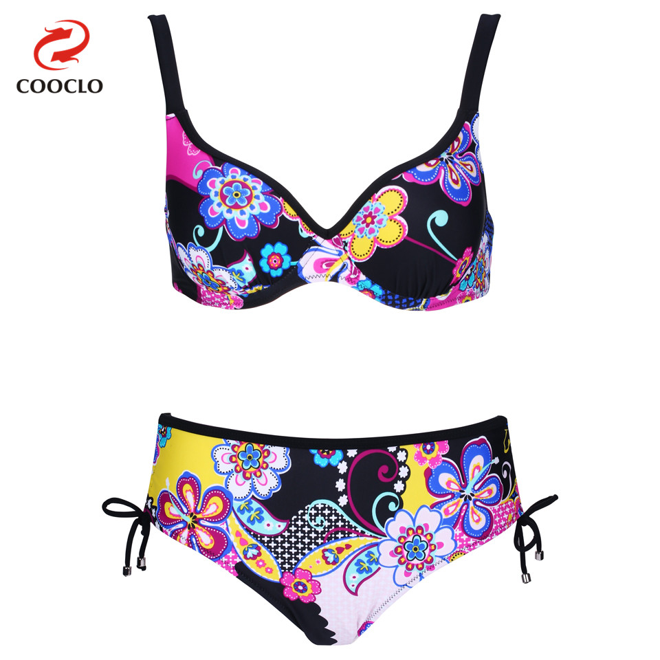 COOCLO Plus Size Swimwear Floral Print Bikinis Set Women Swimwear Large Size Swimsuit Vintage Push up Bathing Suits Biquini цены