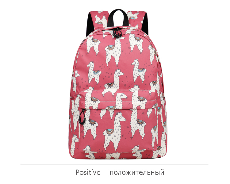 WINNER Backpack Cute Alpaca Print School Backpack Teenager Girls Water Repellent Fabric Laptop Bags Travel Mochila 2019 (14)