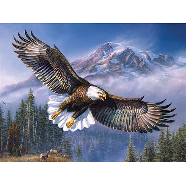 Diy Diamond Painting Eagle In The Sky Cross Stitch Mosaic Sqaure Drill Embroidery Needlework Home