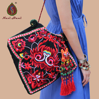 Newest Original Design Ethnic Embroidery Canvas Shoulder Bags Fashion Lady Tassel Triangle Bags