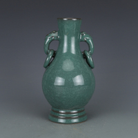 Antique SongDynasty porcelain vase,Green glaze borneol ear bottle,Hand painted crafts,Collection&Adornment,Free shipping