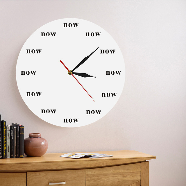 1Piece The Time Is Now Modern Wall Clock Wall Art Time Clock Funny Office  Late Person