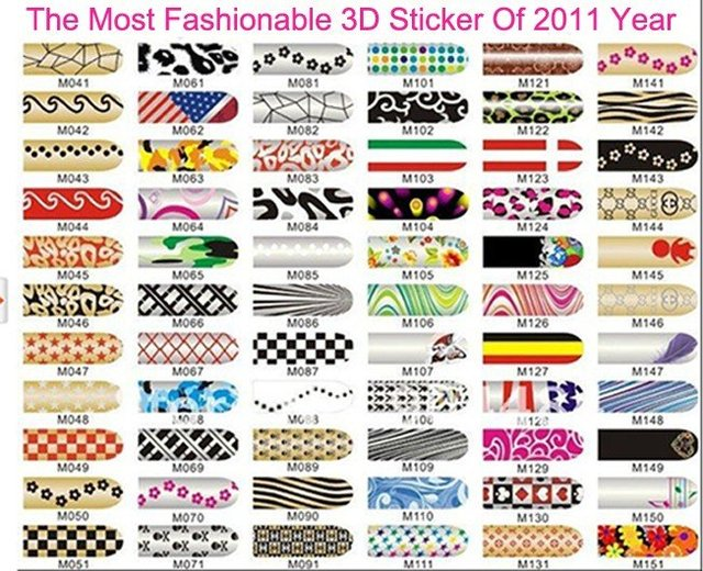 NEW 3D Nail Sticker Nail Art Decoration Nail Foils Sticker 66 Styles Nail Decal Full Tip Patch Metal Sticker Freeshipping