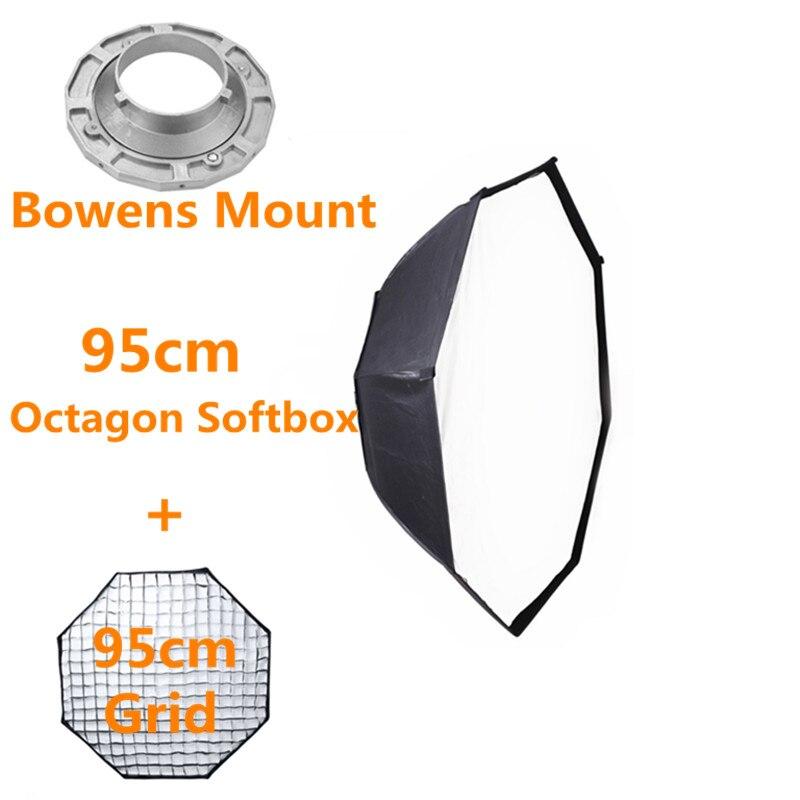 Bowens Mount Octagon Softbox 95 cm with Grid for Studio Flash Photo Studio Soft Box Photography Accesorios Fotografia 50x130cm softbox reflector with bowens mount for studio flash photo studio soft box photography accesorios fotografia light box