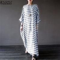 ZANZEA New Women Elegant Striped Dress 2016 Casual Loose O Neck 3 4 Batwing Sleeve Pockets