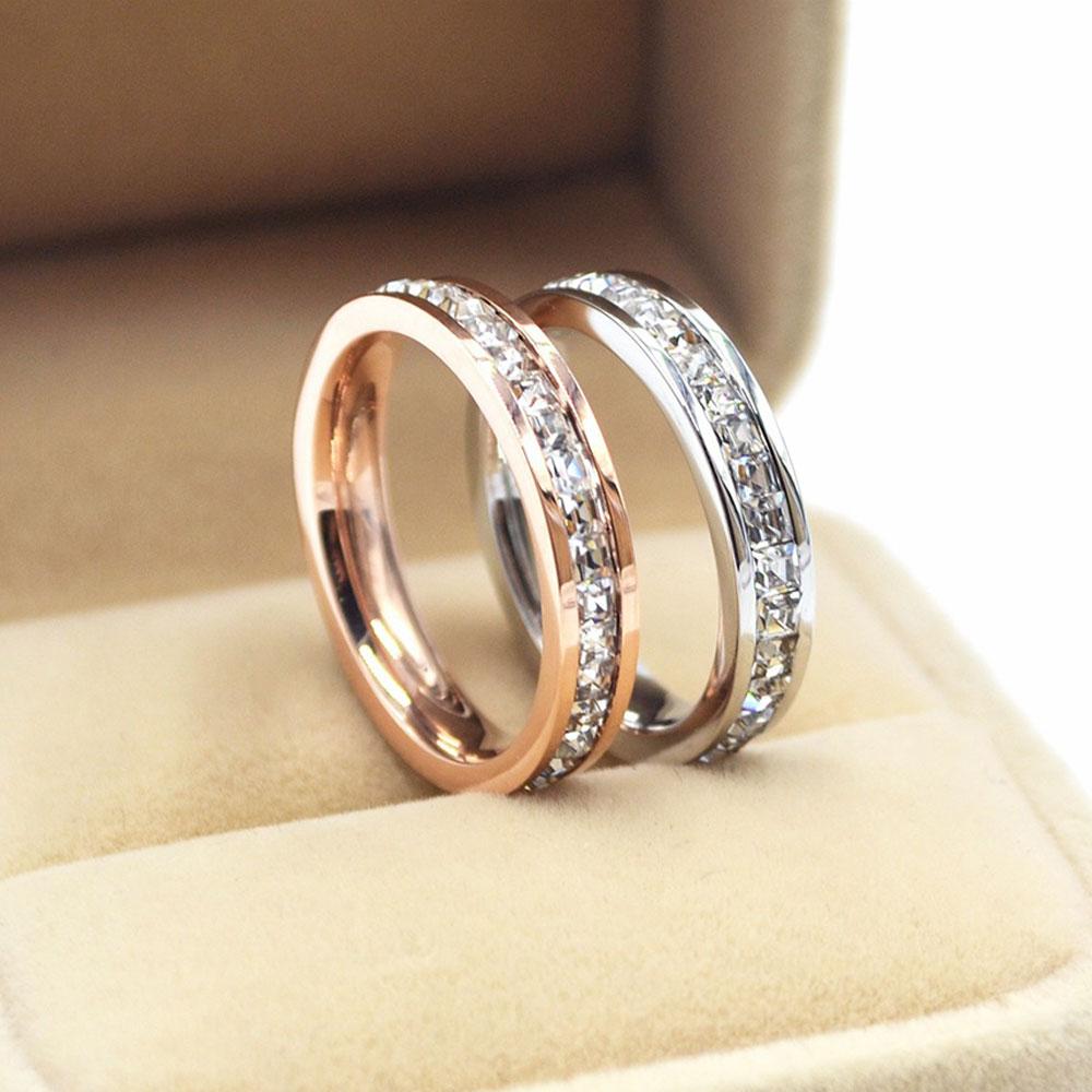 KNOCK  Girls Geometric Ring  Filled & Rose Gold Ring Promise Wedding Engagement Rings For Women Best Gifts 1