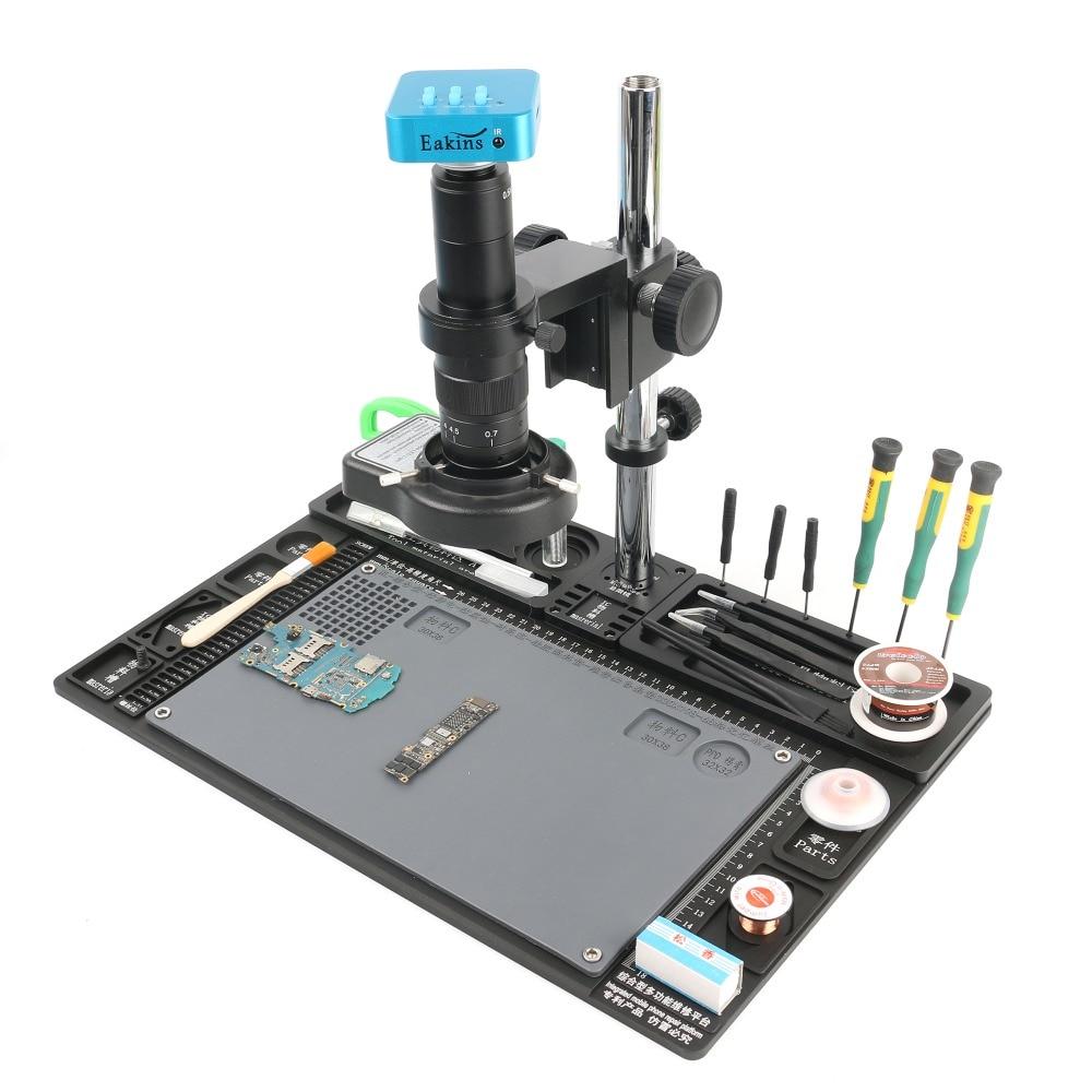 Professional Magnification Microscope Repair Platform 36MP 4K HDMI Microscope Camera 120X/180X/300X C Mount Lens 144 LED Lamp