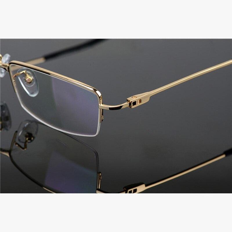 Ultralight Half Rim Pure Titanium Eyeglasses Frame for Men Optical Glasses Frame Men Gold Prescription Spectacle Frames Eyewear