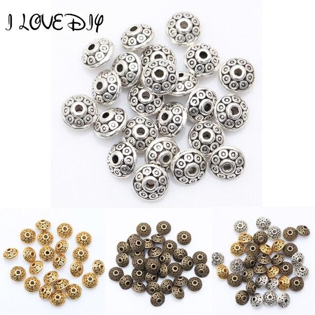 Preço de atacado 100 pcs Tibetano Grânulos de Prata Antigo do Metal do Ouro Cone padrão Spacer Beads 6mm para Fazer Jóias (yiwu)