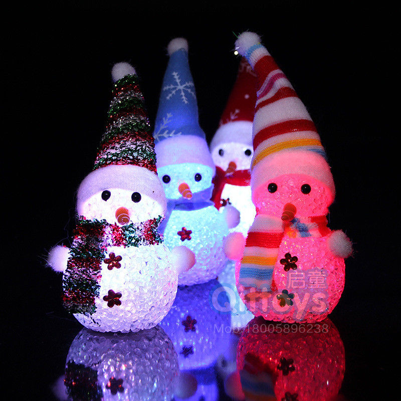 Colorful Flash Led Snowman Wearing Hat Shaped Night Light Lamp with Rope Hanging Christmas Decor Popular Christmas gift Ramdom