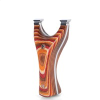 Titanium Steel Slingshot Wooden Handle and Flat Rubber Band for Outdoor Archery Shooting