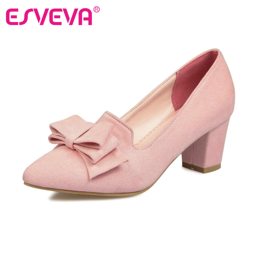 ESVEVA Sweet Pink Ladies Spring Shoes Slip on Thick High Heel Pointed Toe Woman Pumps Bow Tie Ladies Wedding Shoe Size 34-43 new 2017 spring summer women shoes pointed toe high quality brand fashion womens flats ladies plus size 41 sweet flock t179