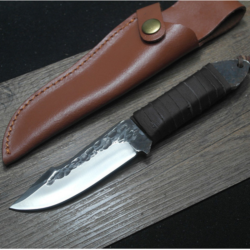 HIGHT QUALITY Hand Made Small Straight font b Knife b font Wood Handle Hunting font b