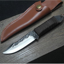 HIGHT QUALITY Hand Made Small Straight Knife Wood Handle Hunting Tactical Knife 60HRC Fixed Blade Knife Rescue Tool With Leather