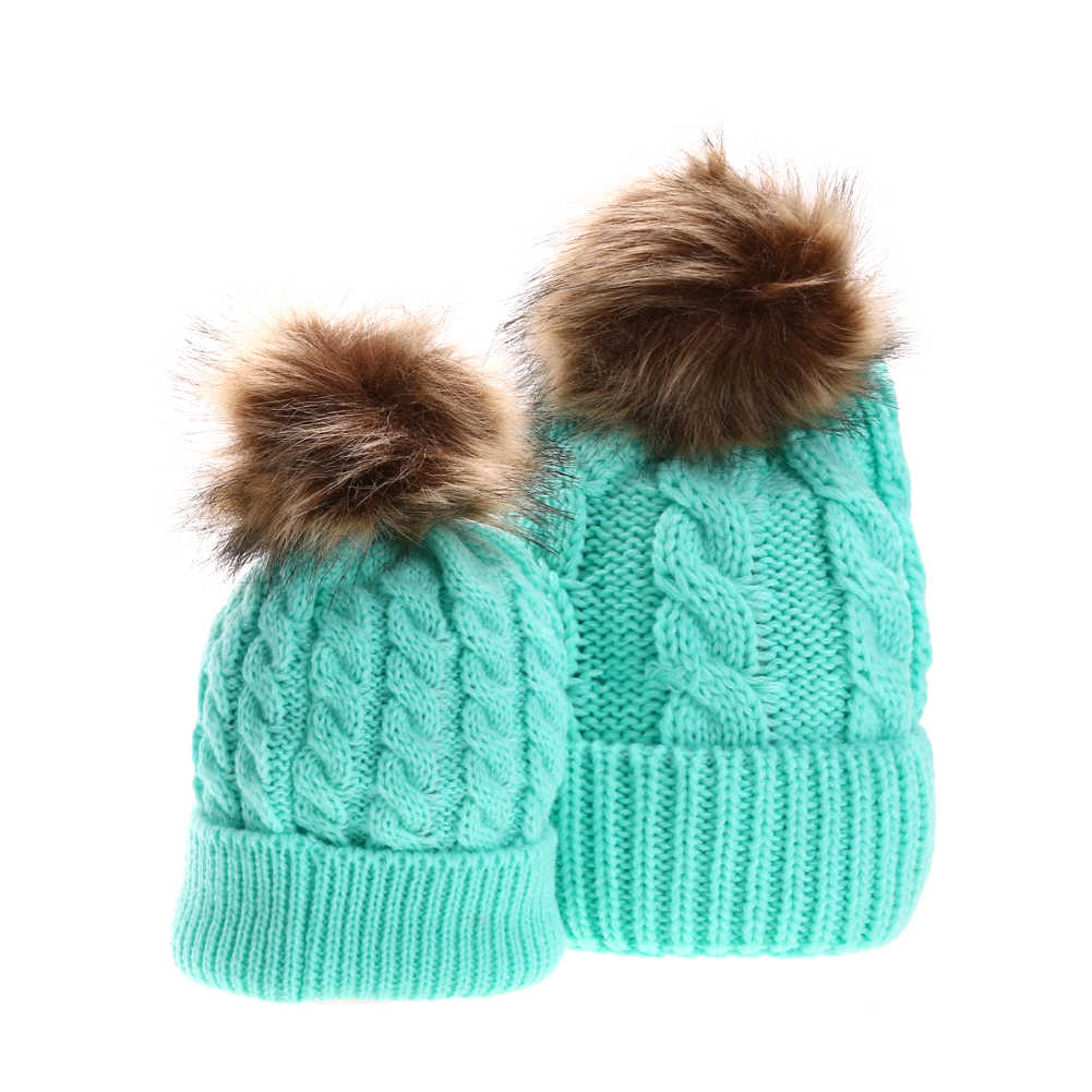 Mom Baby Pompon Hat Baby Boys Girls Warm Raccoon Fur Hat Bobble Beanies Cap  Kids Parent e6f99c944dc7