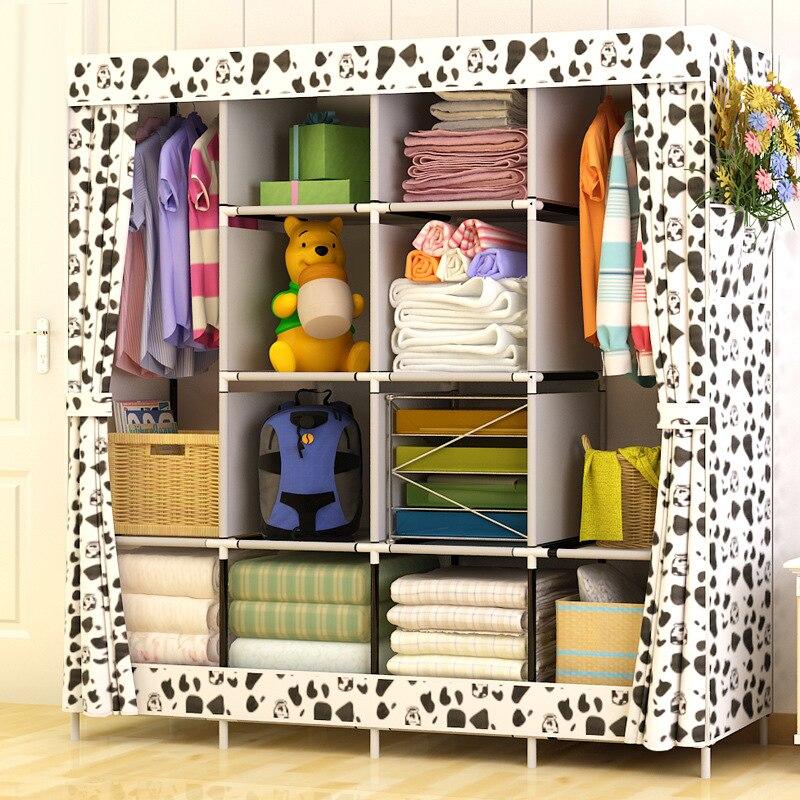 Современный простой гардероб Бытовая ткань складной шкаф для одежды сборки хранения King Размеры подкрепление Комбинации простой шкаф