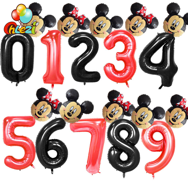 2pcs 40inch Black Red Number Digit Foil Balloons 1 2 3 4 5 6 7 8 9 Years Old Kids Birthday Decoration Mickey Minnie Balloon