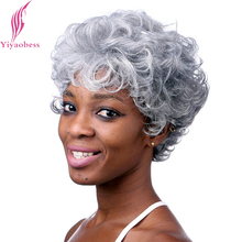Yiyaobess 6inch Silver Grey Short Curly Wigs For Older Women Heat Resistant Synthetic African American Wig