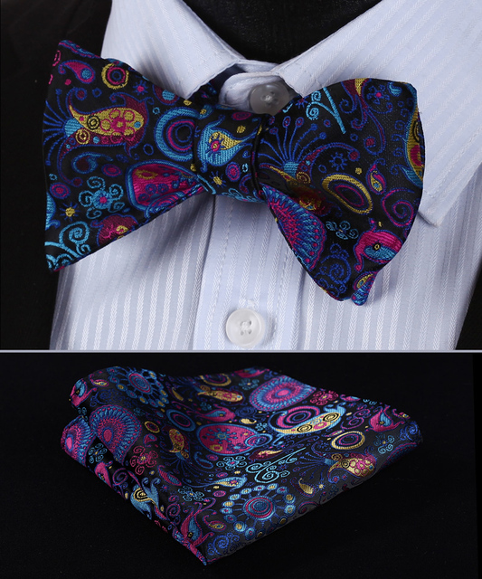 6480b2e2a128 BP816V Navy Blue Pink Paisley 100%Silk Jacquard Men Butterfly Self Bow Tie  BowTie Pocket Square Handkerchief Hanky Suit Set