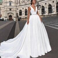Простые Свадебные платья 2019 а линия элегантная дешевая атласная свадебное платье свадебное пляжное платье Vestido De Novia